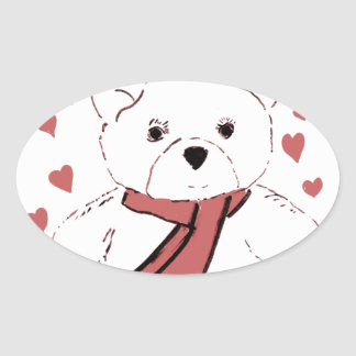 White Teddy Bear with Dusky Red Hearts Oval Sticker