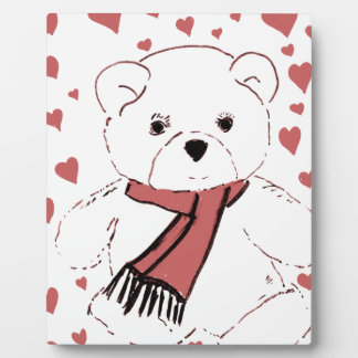 White Teddy Bear with Dusky Red Hearts Plaque