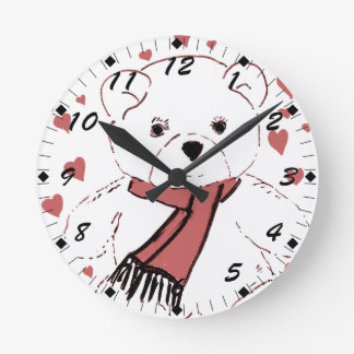 White Teddy Bear with Dusky Red Hearts Round Clock
