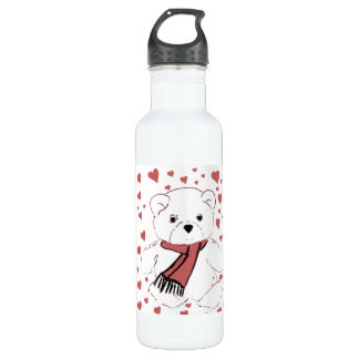 White Teddy Bear with Dusky Red Hearts Stainless Steel Water Bottle