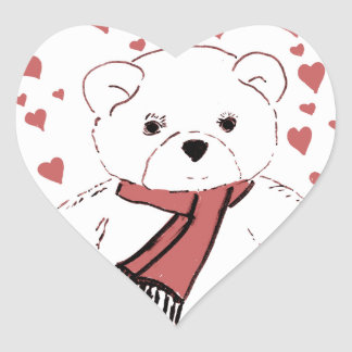 White Teddy Bear with Dusky Red Hearts Heart Sticker