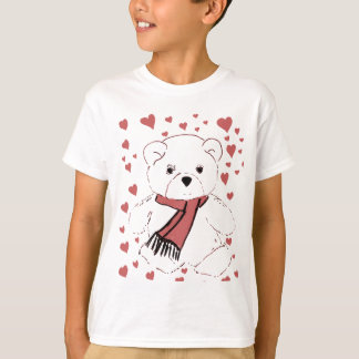 White Teddy Bear with Dusky Red Hearts T-Shirt