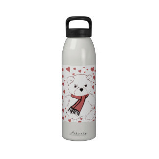 White Teddy Bear with Dusky Red Hearts Reusable Water Bottles