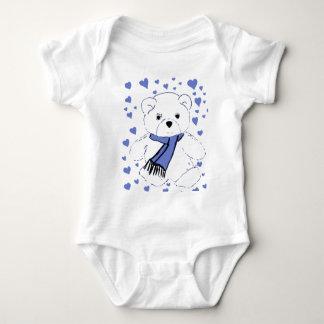 White Teddy Bear with Light Blue Hearts Baby Bodysuit