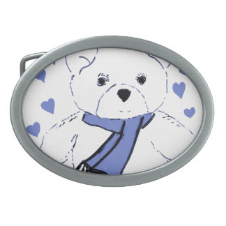 White Teddy Bear with Light Blue Hearts Belt Buckle