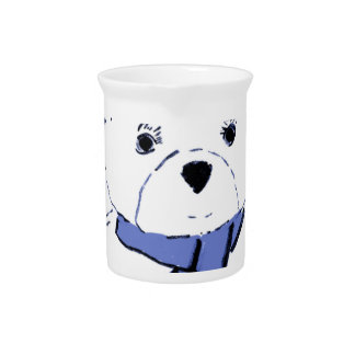 White Teddy Bear with Light Blue Hearts Beverage Pitcher