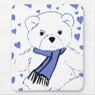 White Teddy Bear with Light Blue Hearts Mouse Pad