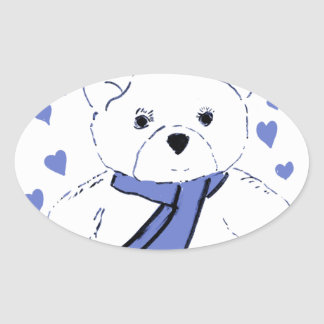 White Teddy Bear with Light Blue Hearts Oval Sticker