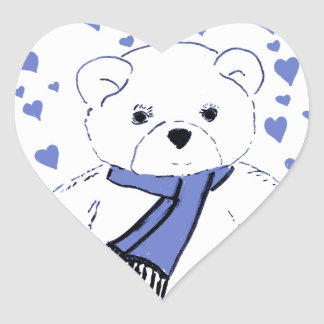 White Teddy Bear with Light Blue Hearts Stickers