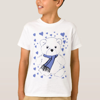 White Teddy Bear with Light Blue Hearts T-Shirt