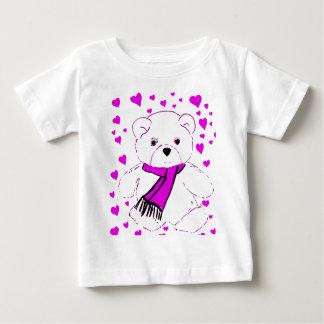 White Teddy Bear with Magenta Hearts Baby T-Shirt