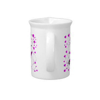 White Teddy Bear with Magenta Hearts Drink Pitcher