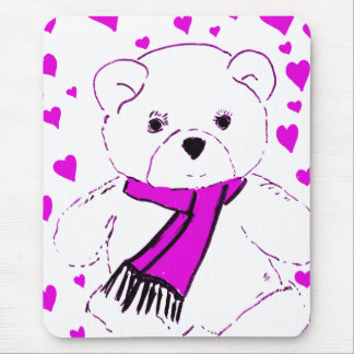 White Teddy Bear with Magenta Hearts Mouse Pad