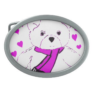White Teddy Bear with Magenta Hearts Oval Belt Buckle