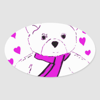 White Teddy Bear with Magenta Hearts Oval Sticker