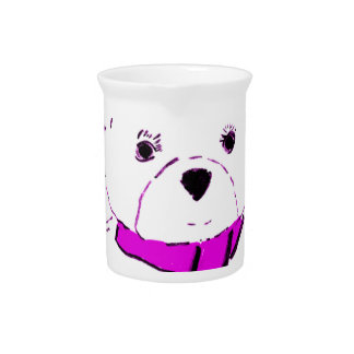 White Teddy Bear with Magenta Hearts Pitcher