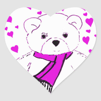 White Teddy Bear with Magenta Hearts Sticker