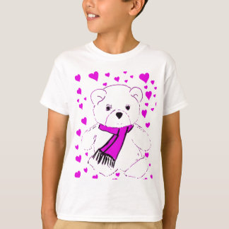 White Teddy Bear with Magenta Hearts T-Shirt