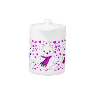 White Teddy Bear with Magenta Hearts Teapot