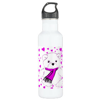White Teddy Bear with Magenta Hearts Water Bottle