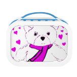 White Teddy Bear with Magenta Hearts Yubo Lunchbox
