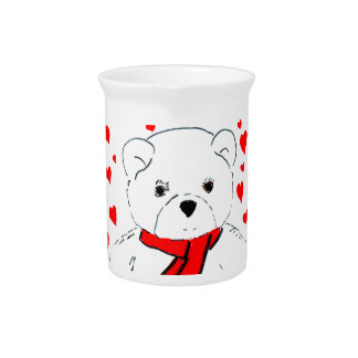 White Teddy Bear with Red Hearts Beverage Pitcher