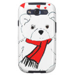 White Teddy Bear with Red Hearts Samsung Galaxy S3 Cases