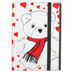 White Teddy Bear with Red Hearts iPad Covers