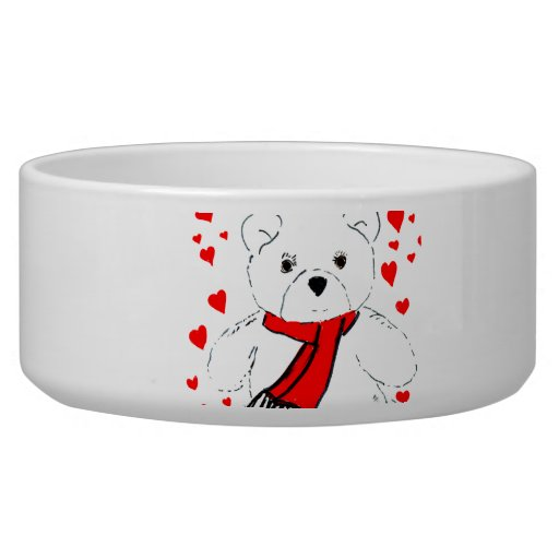 White Teddy Bear with Red Hearts Pet Water Bowl