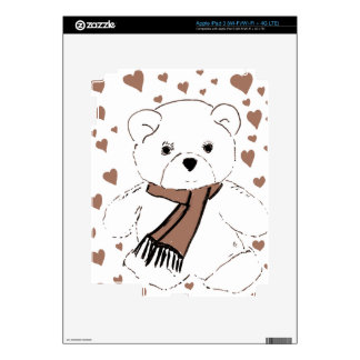 White Teddy Bear with Sepia Colored Hearts Decals For iPad 3