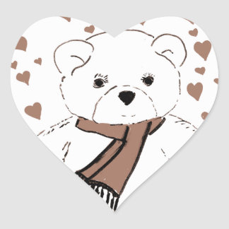 White Teddy Bear with Sepia Colored Hearts Heart Sticker