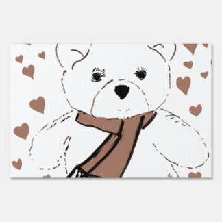 White Teddy Bear with Sepia Colored Hearts Sign