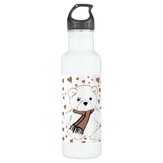 White Teddy Bear with Sepia Colored Hearts Stainless Steel Water Bottle