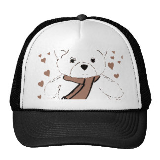 White Teddy Bear with Sepia Colored Hearts Trucker Hat