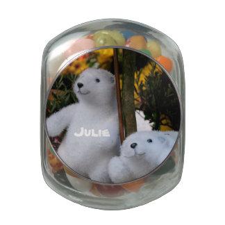 White Teddy Bears in a flowerpot - Candy Tin
