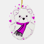 White Teddy Bears with Magenta Hearts Christmas Ornament