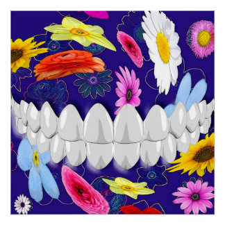 White Teeth Bite Flower Spin Dentist Poster