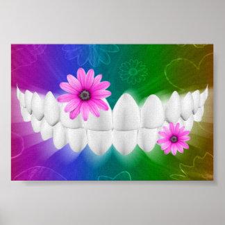 White Teeth Smile Pink Flower Dentist Poster