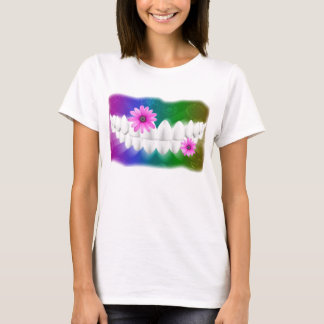White Teeth Smile Pink Flower Dentist T-shirt