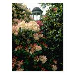 white Temple among flowers - Kew Gardens, England Postcard