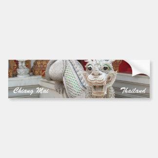 White Temple Dragon Car Bumper Sticker