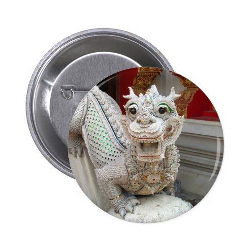 White Temple Dragon Pinback Buttons