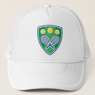 White tennis hat with classic logo shield
