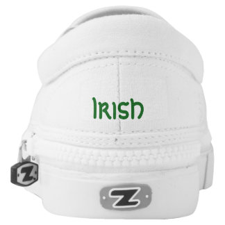 white Tennis Shoes with Shamrock Printed Shoes