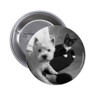 White Terrier and Cat Share the Love Button