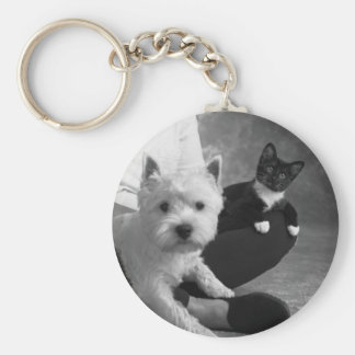 White Terrier and Cat Share the Love Keychain