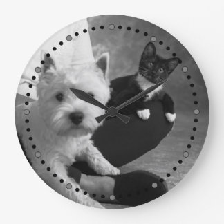 White Terrier and Cat Share the Love Large Clock