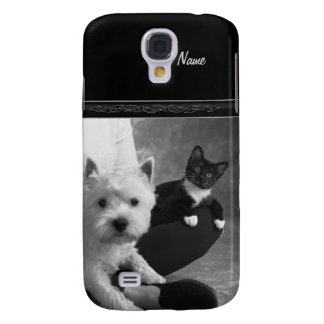 White Terrier and Cat Share the Love Samsung Galaxy S4 Cover