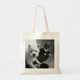 White Terrier and Cat Share the Love Tote Bag