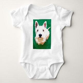 White Terrier Baby Bodysuit